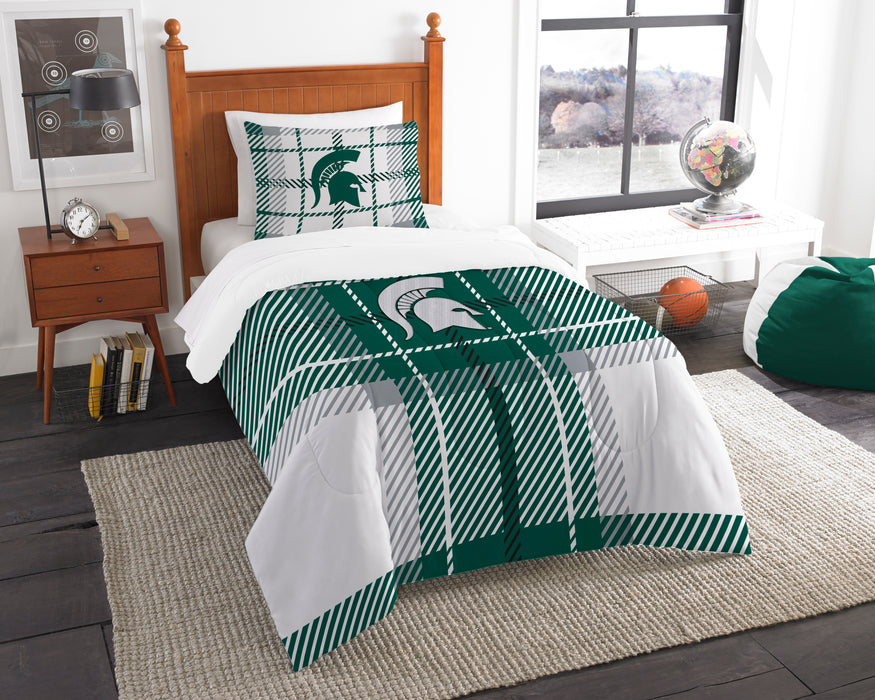 "Michigan State OFFICIAL Collegiate, Bedding, Twin Applique Comforter (64""""x 86"""") & 1 Sham (20""""x 26"""") Set  by The Northwest Company"