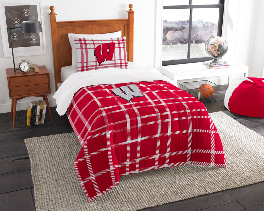 "Wisconsin OFFICIAL Collegiate, Bedding, Twin Applique Comforter (64""""x 86"""") & 1 Sham (20""""x 26"""") Set  by The Northwest Company"