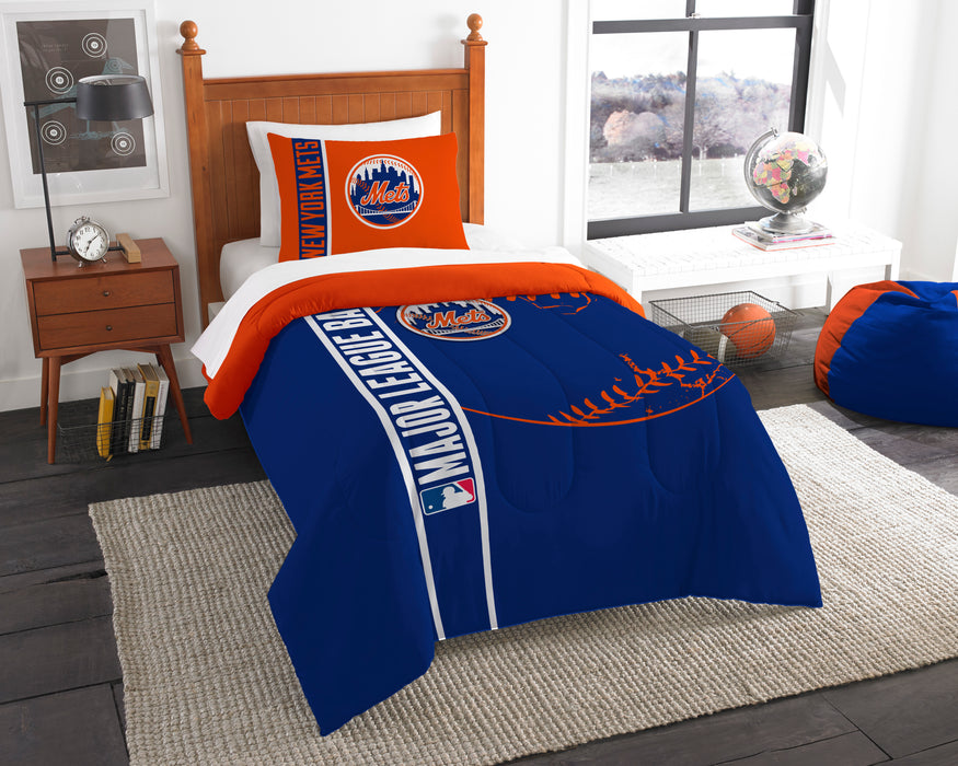 "Mets OFFICIAL , Bedding Twin Applique Comforter (64""""x 86"""") & 1 Sham (20""""x 26"""") Set  by The Northwest Company"