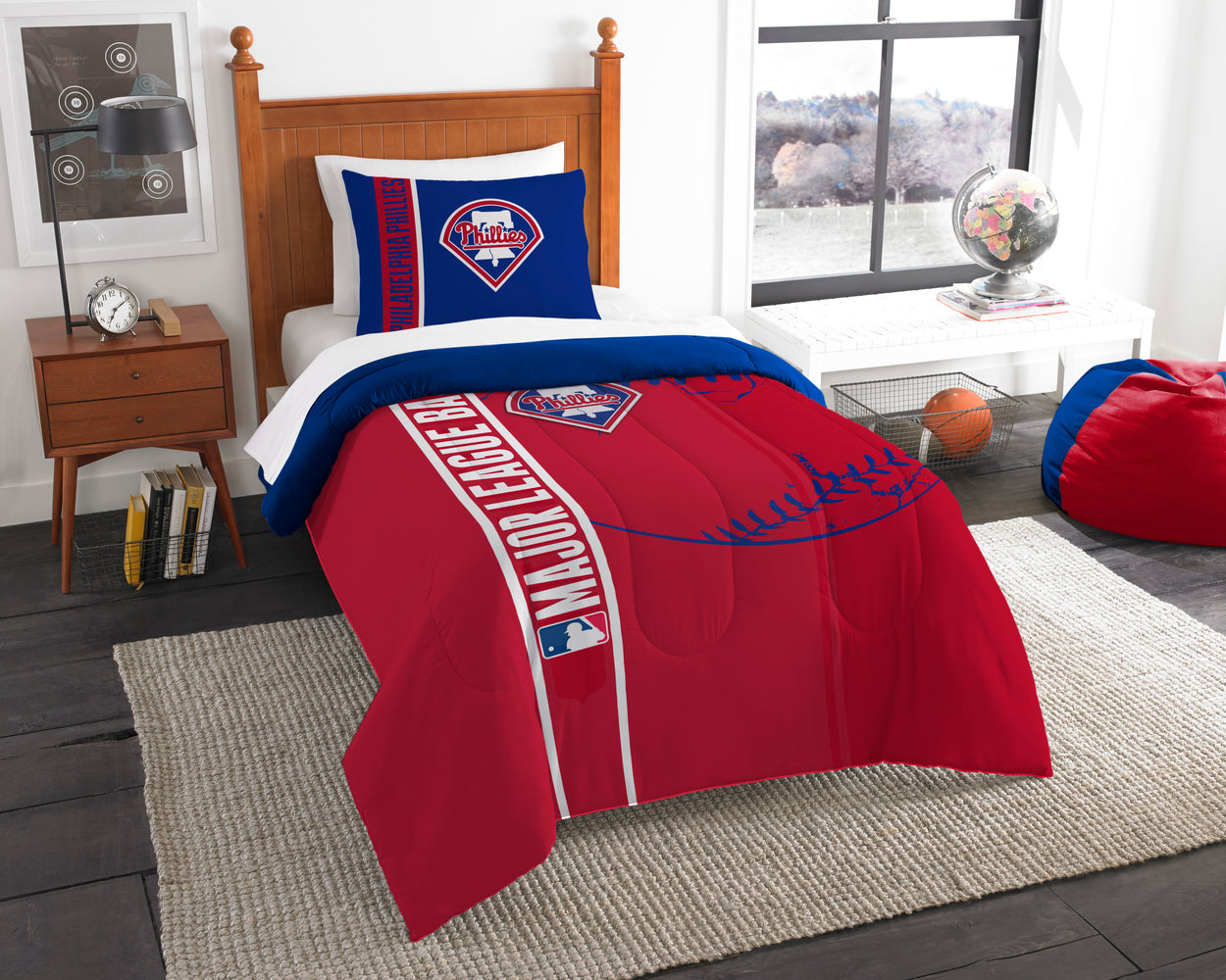 "Phillies OFFICIAL , Bedding Twin Applique Comforter (64""""x 86"""") & 1 Sham (20""""x 26"""") Set  by The Northwest Company"