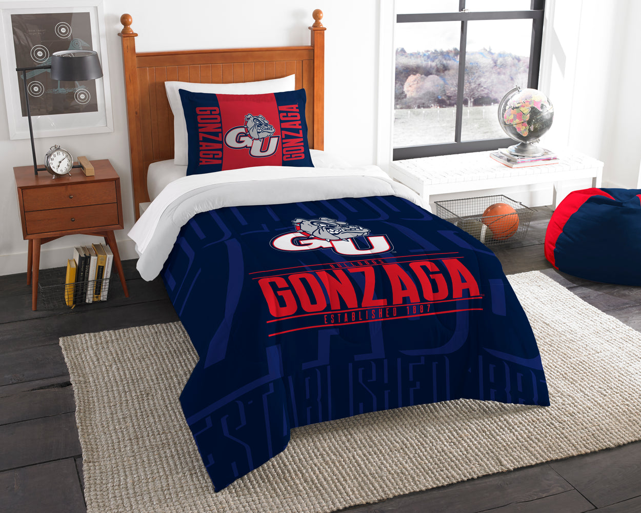 "Gonzaga OFFICIAL Collegiate, Bedding, """"Modern Take"""" Twin Printed Comforter (64""""x 86"""") & 1 Sham (24""""x 30"""") Set  by The Northwest Company"