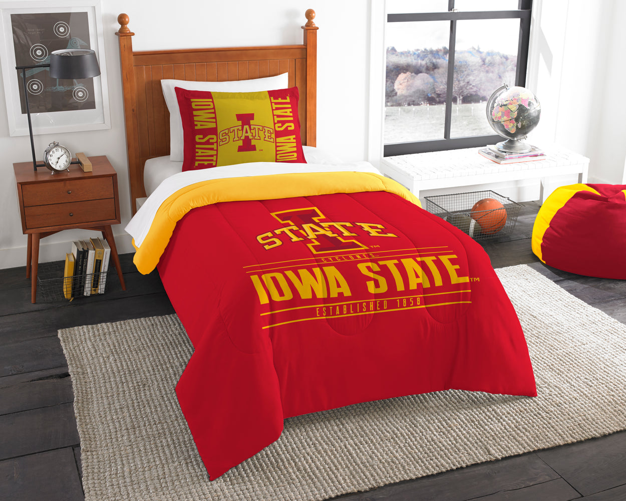 "Iowa State OFFICIAL Collegiate, Bedding, """"Modern Take"""" Twin Printed Comforter (64""""x 86"""") & 1 Sham (24""""x 30"""") Set  by The Northwest Company"