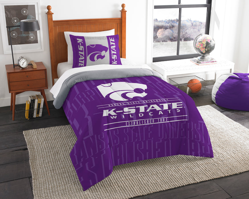 "Kansas State OFFICIAL Collegiate, Bedding, """"Modern Take"""" Twin Printed Comforter (64""""x 86"""") & 1 Sham (24""""x 30"""") Set  by The Northwest Company"
