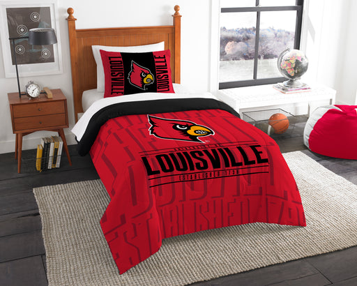 "Louisville OFFICIAL Collegiate, Bedding, """"Modern Take"""" Twin Printed Comforter (64""""x 86"""") & 1 Sham (24""""x 30"""") Set  by The Northwest Company"