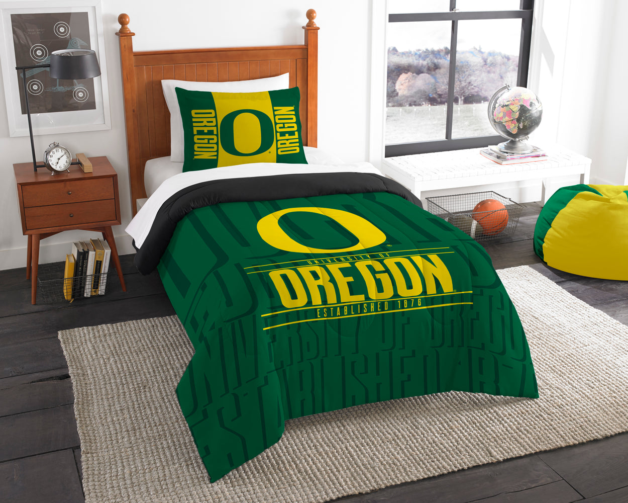 "Oregon OFFICIAL Collegiate, Bedding, """"Modern Take"""" Twin Printed Comforter (64""""x 86"""") & 1 Sham (24""""x 30"""") Set  by The Northwest Company"