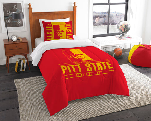 "Pittsburgh State OFFICIAL Collegiate, Bedding, """"Modern Take"""" Twin Printed Comforter (64""""x 86"""") & 1 Sham (24""""x 30"""") Set  by The Northwest Company"