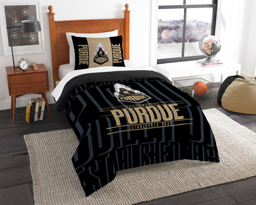 "Purdue OFFICIAL Collegiate, Bedding, """"Modern Take"""" Twin Printed Comforter (64""""x 86"""") & 1 Sham (24""""x 30"""") Set  by The Northwest Company"