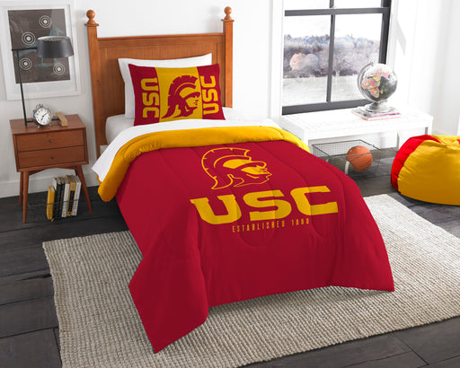 "USC OFFICIAL Collegiate, Bedding, """"Modern Take"""" Twin Printed Comforter (64""""x 86"""") & 1 Sham (24""""x 30"""") Set  by The Northwest Company"