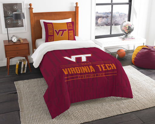 "Virginia Tech OFFICIAL Collegiate, Bedding, """"Modern Take"""" Twin Printed Comforter (64""""x 86"""") & 1 Sham (24""""x 30"""") Set  by The Northwest Company"