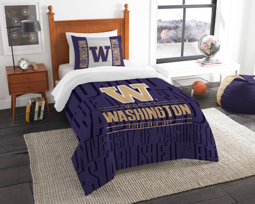 "Washington OFFICIAL Collegiate, Bedding, """"Modern Take"""" Twin Printed Comforter (64""""x 86"""") & 1 Sham (24""""x 30"""") Set  by The Northwest Company"