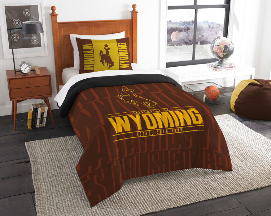 "Wyoming OFFICIAL Collegiate, Bedding, """"Modern Take"""" Twin Printed Comforter (64""""x 86"""") & 1 Sham (24""""x 30"""") Set  by The Northwest Company"