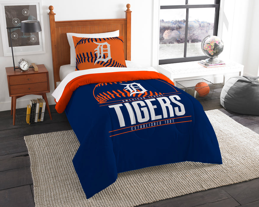 "Tigers OFFICIAL Major League Baseball, Bedding, Printed Twin Comforter (64""""x 86"""") & 1 Sham (24""""x 30"""") Set  by The Northwest Company"