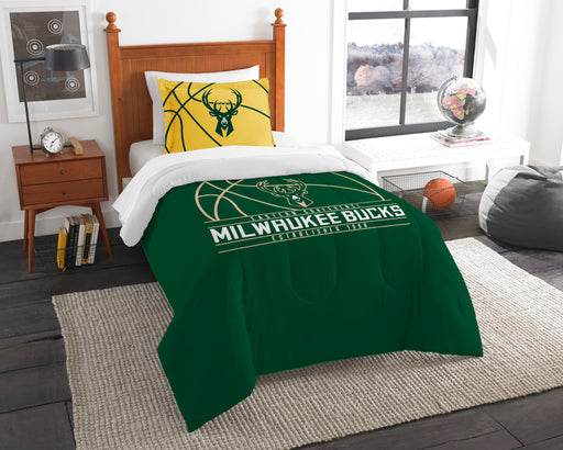 "Bucks OFFICIAL National Basketball Association, Bedding, """"Reverse Slam"""" Printed Twin Comforter (64""""x 86"""") & 1 Sham (24""""x 30"""") Set  by The Northwest Company"