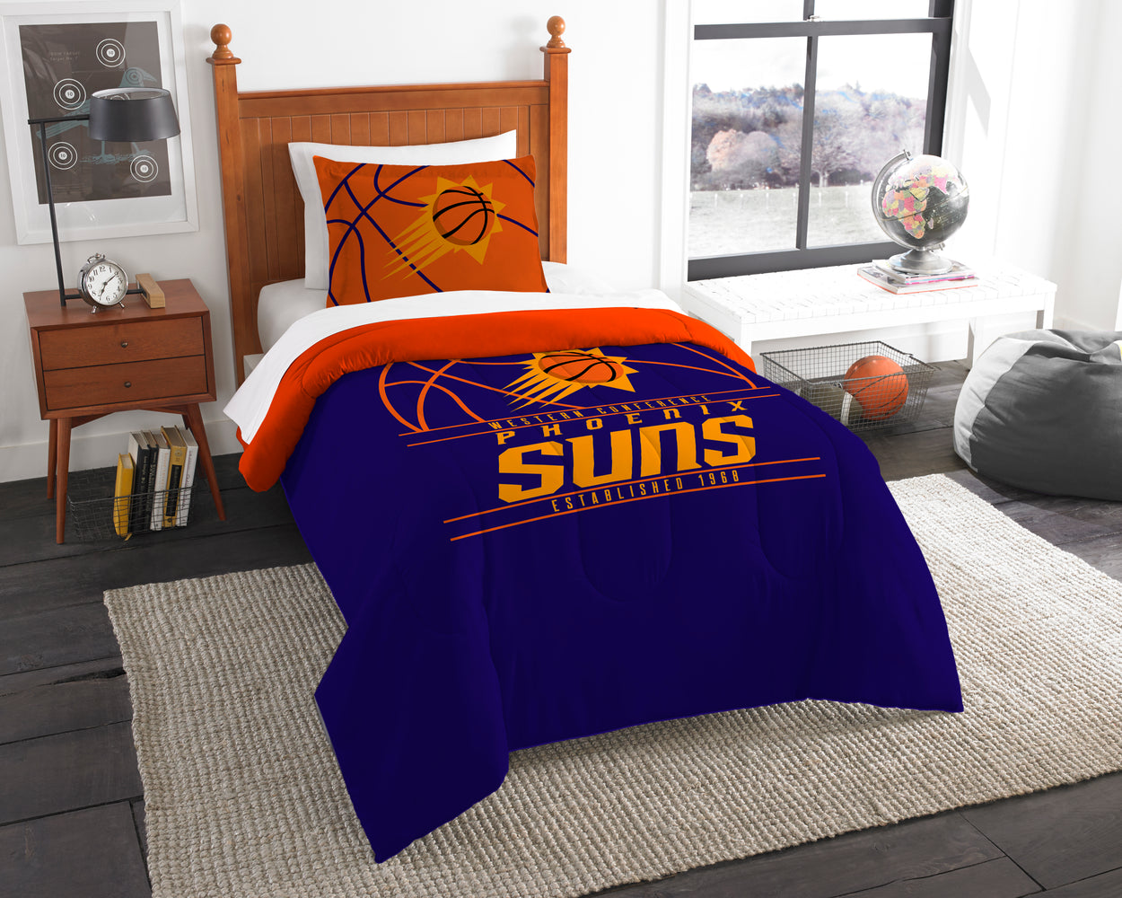 "Suns OFFICIAL National Basketball Association, Bedding, """"Reverse Slam"""" Printed Twin Comforter (64""""x 86"""") & 1 Sham (24""""x 30"""") Set  by The Northwest Company"