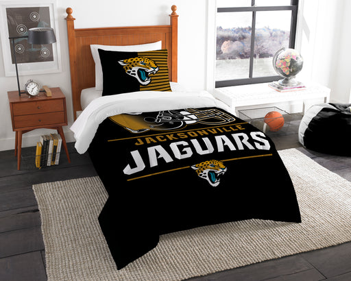 "Jaguars OFFICIAL National Football League, Bedding, """"Draft"""" Printed Twin Comforter (64""""x 86"""") & 1 Sham (24""""x 30"""") Set  by The Northwest Company"