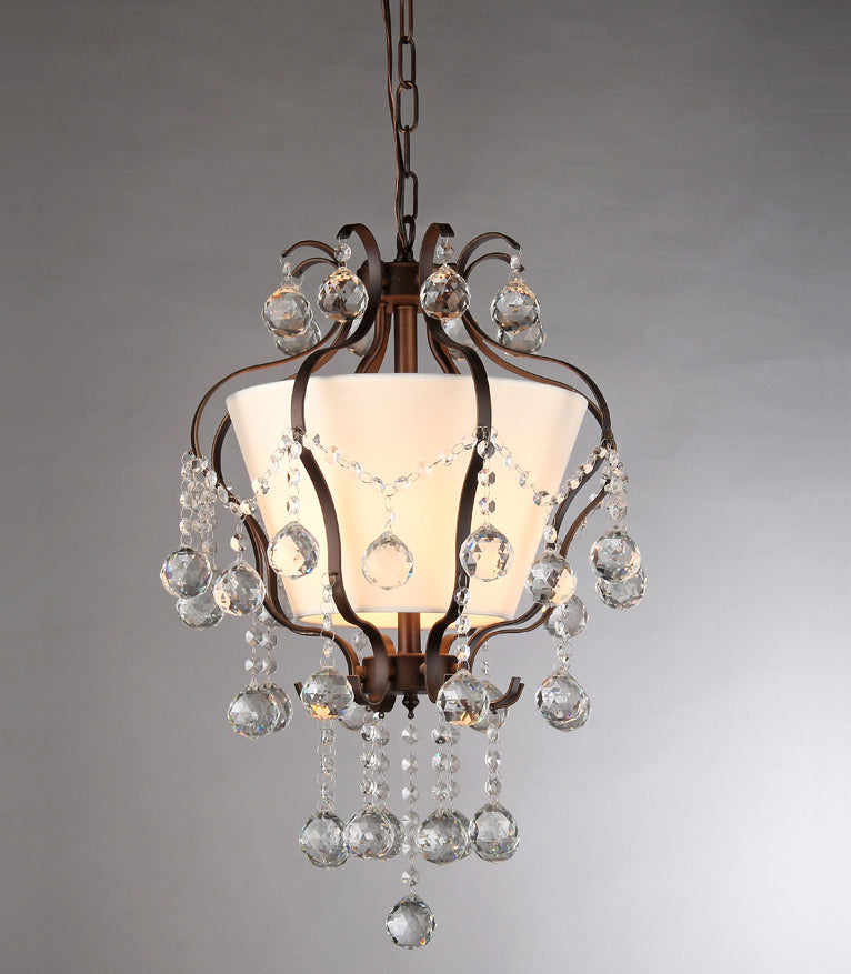 Stacey Fabric Lampshade- Antique Bronze And Crystal 4-light Chandelier