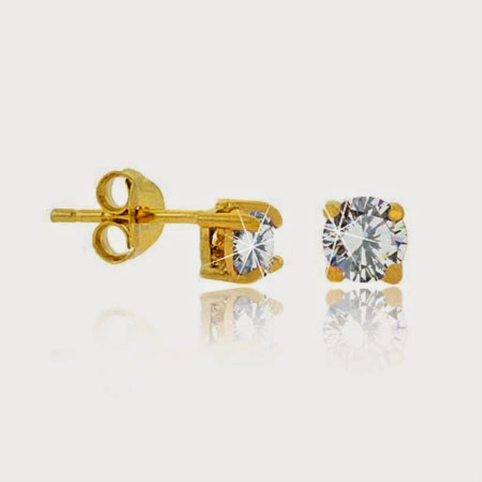 18k Gold Over Sterling Silver Cz 4mm Round Stud Earrings