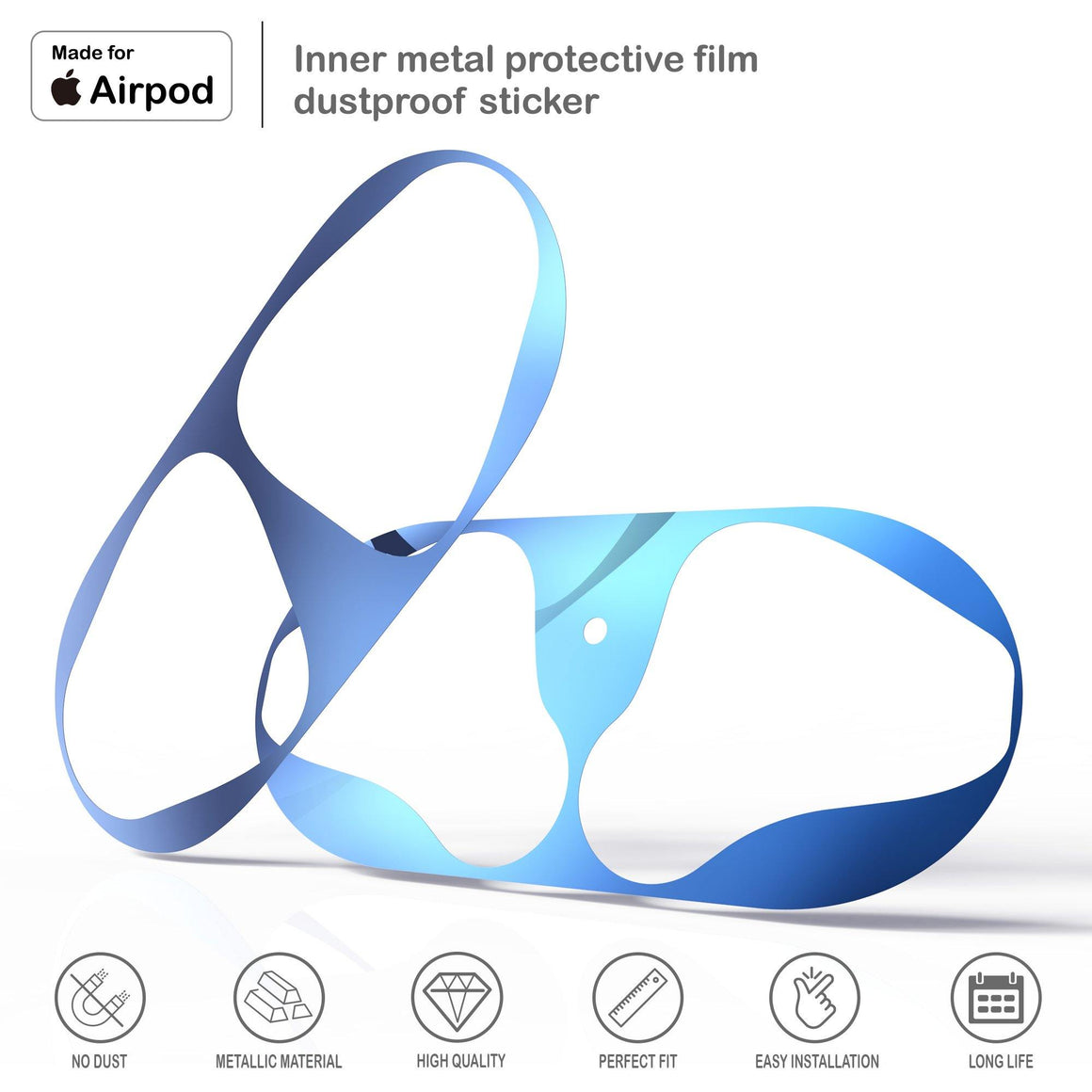 "2PCS ""Airpods Dust Guard"" Blue"