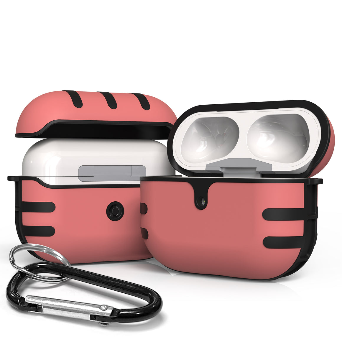 AirPods Pro Duo Shield Pink/Black Slim Two Piece Snap On Case/Hard Plastic + TPU/ Keychain