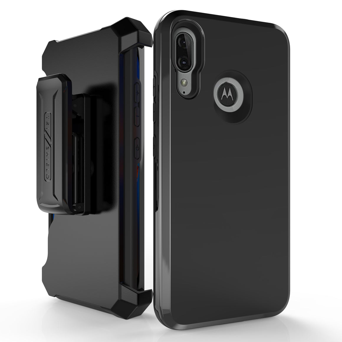 "Duo Shield For Motorola E6 Plus 6.1"" (XT2025) Black PC / Black TPU, with Belt Clip Holster,"