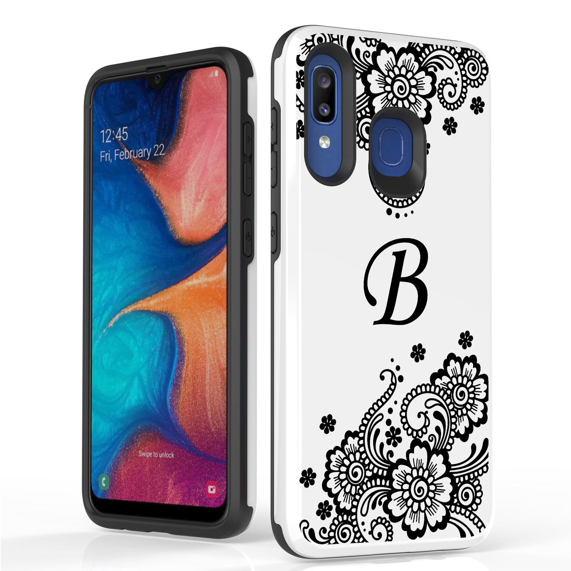 Duo Shield For Samsung Galaxy A20 White PC / Black TPU, Monogram A02