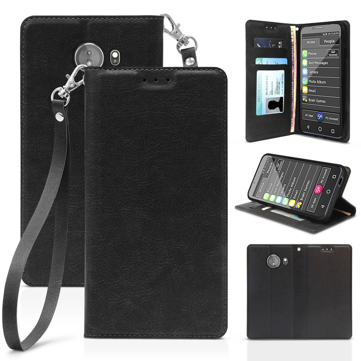 "Infolio L For Greatcall Jitterbug XL 5.5"" Black with Clear Gel"