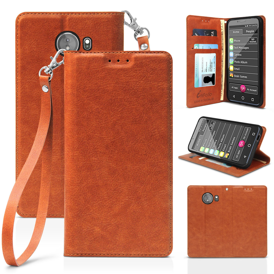 "Infolio L For Greatcall Jitterbug XL 5.5"" Brown with Clear Gel"