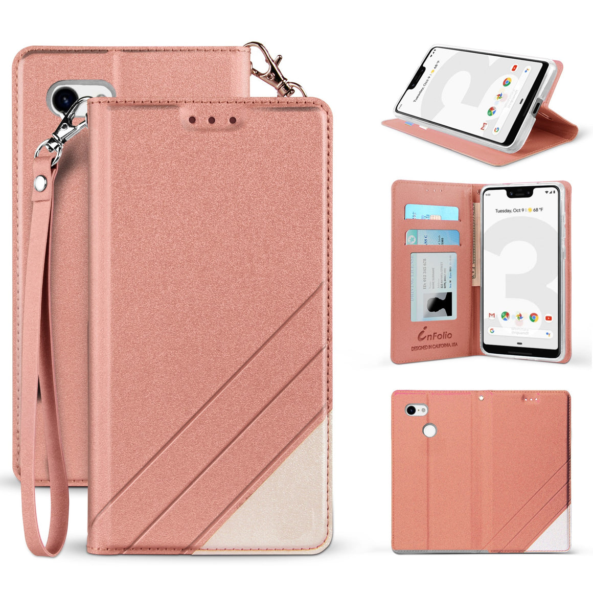 Infolio S For Google Pixel 3 XL Rose Gold With Clear Gel