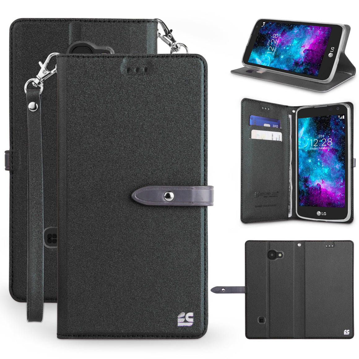 Infolio S For LG K3  Black / Clear Gel PU Leather/TPU Case/Card Slot/Magnetic Close/Strap