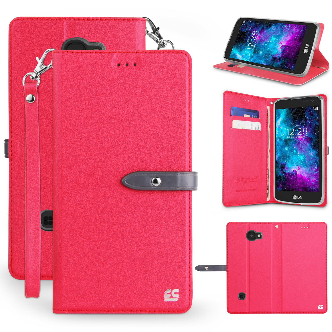Infolio S For LG K3  Red / Clear Gel PU Leather/TPU Case/Card Slot/Magnetic Close/Strap