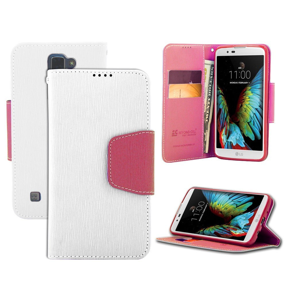 Infolio For LG K7/ Tribute 5/ M1/ Treasure 4G/ Escape 3 White/Pink with Pink Gel/PU Leather/TPU Case/Card Slot/Bill Fold/Magnetic Flap