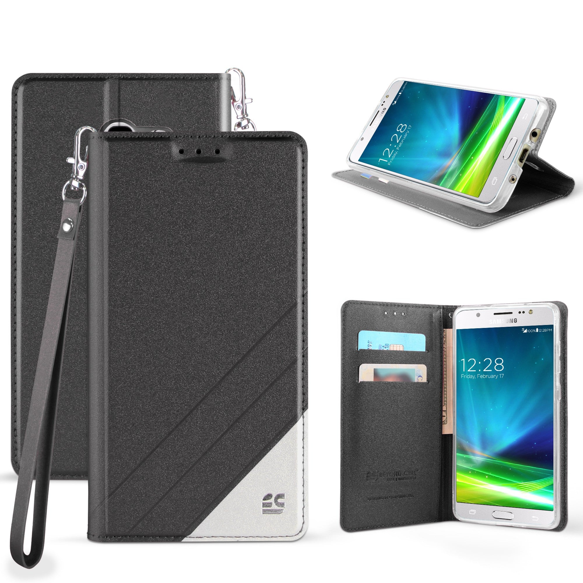 new york 61233 0fc54 Infolio C For Samsung Galaxy J5 2017/ J5 Prime Black/White With Clear Gel  PU Leather/TPU Case/2 Tone/Card Slot/Magnetic Close/Strap