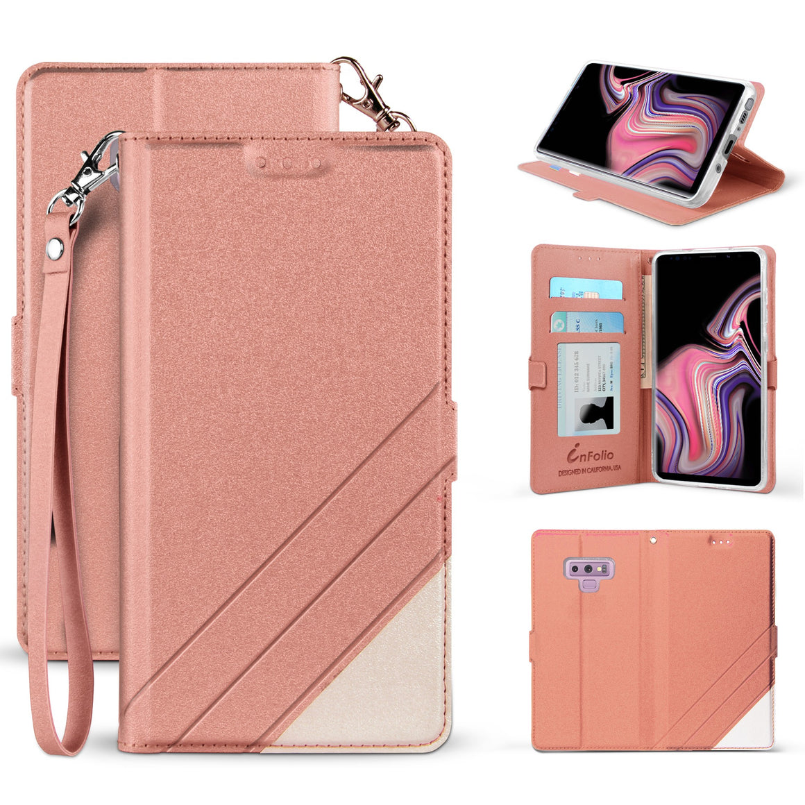 Infolio S For Samsung Galaxy Note 9 Rose Gold With Clear Gel