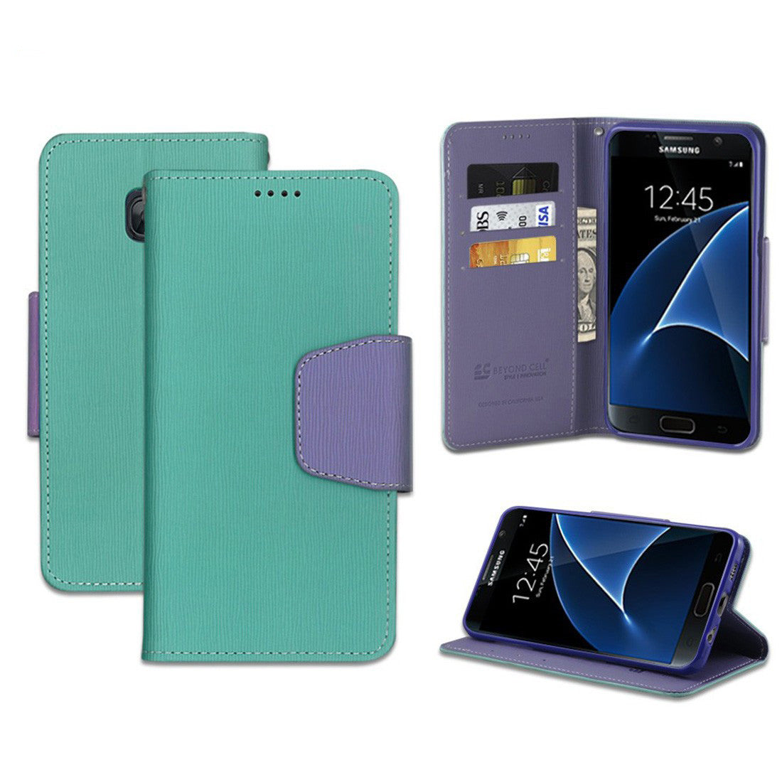 Infolio For Samsung Galaxy S7 Mint/Purple With Purple Gel/PU Leather/TPU Case/Card Slot/Bill Fold/Magnetic Flap