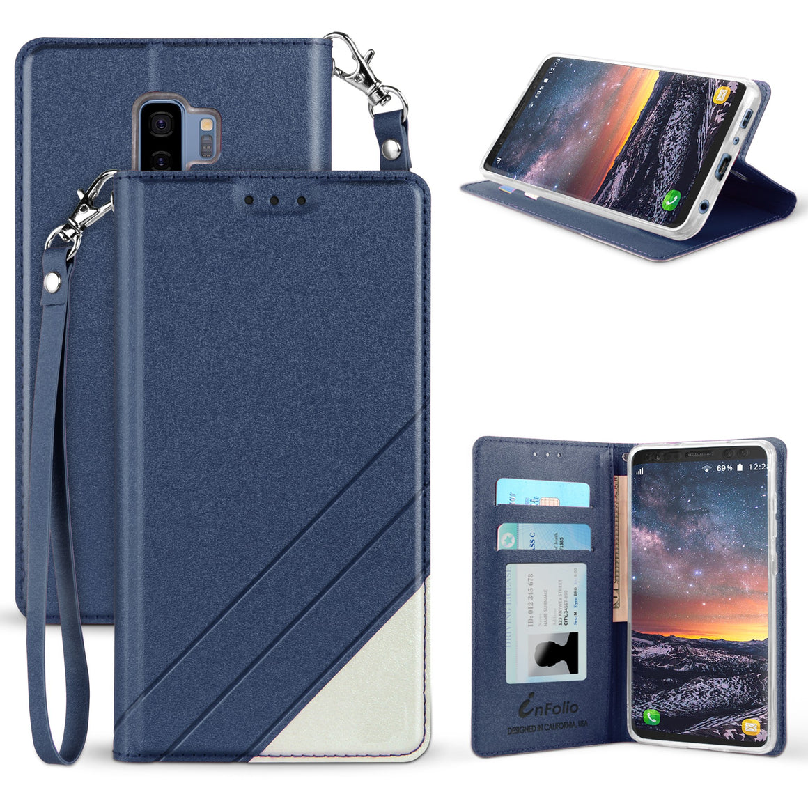 Infolio C For Samsung Galaxy S9 Plus Dark Blue/White With Clear Gel