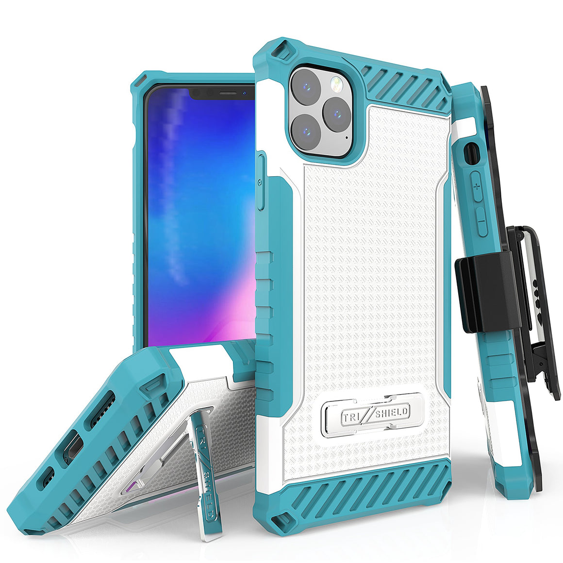 "Tri Shield For Apple iPhone 11 Pro Max (6.5"") White/Light Blue, TPU Case,Kickstand, with Belt Clip Holster,"