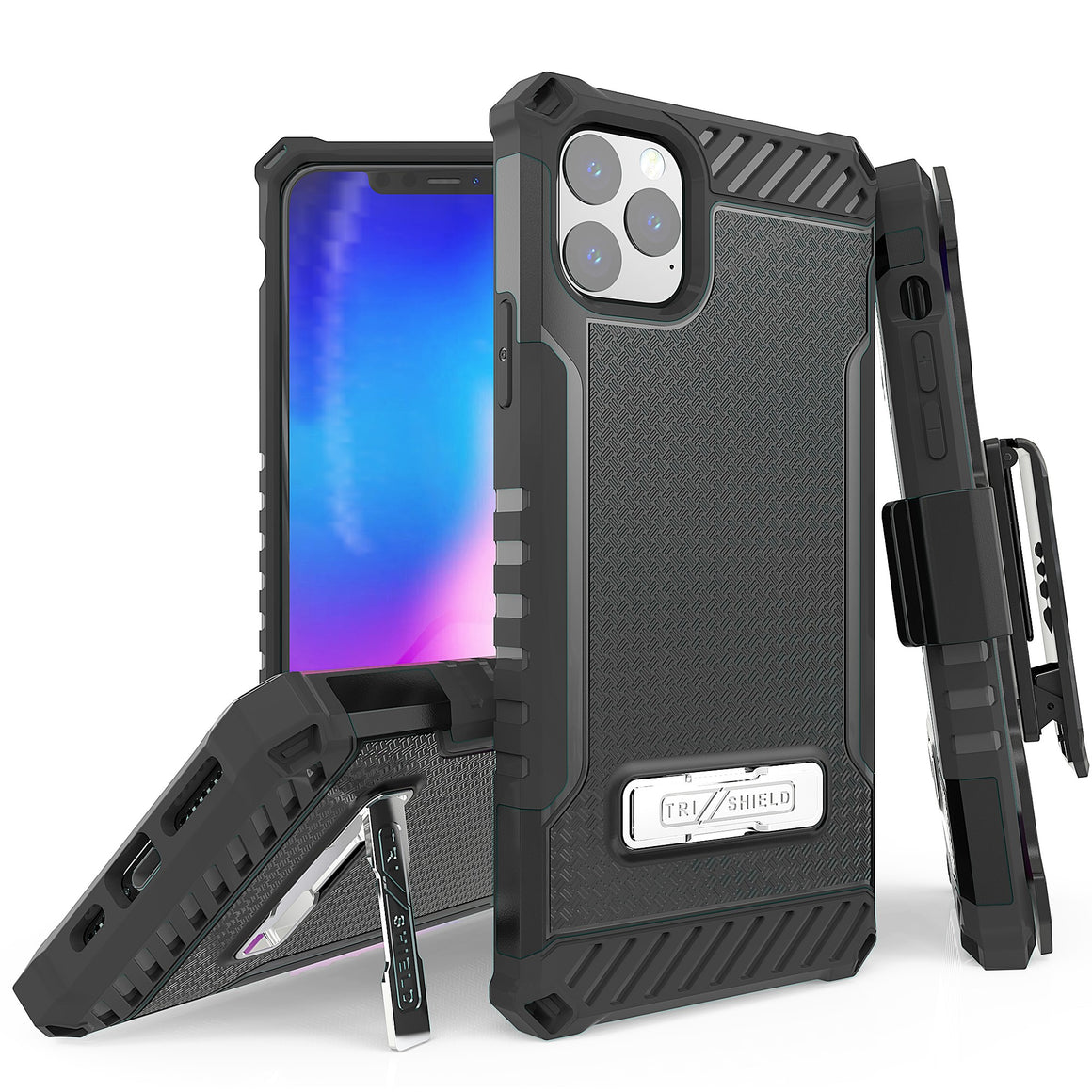 "Tri Shield For Apple iPhone 11 Pro Max (6.5"") Black/Black, TPU Case,Kickstand, with Belt Clip Holster,"