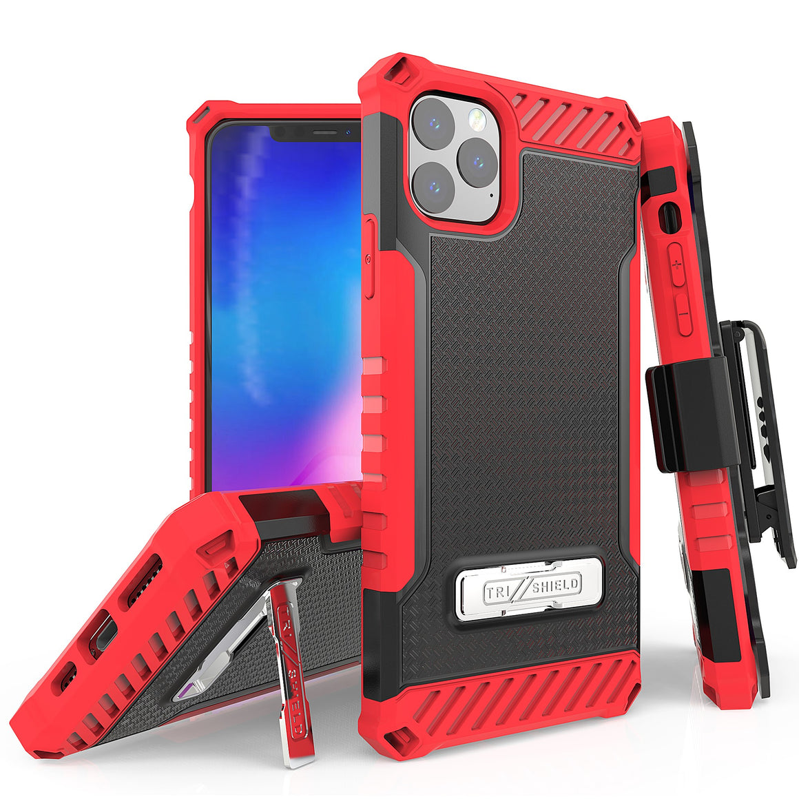 "Tri Shield For Apple iPhone 11 Pro Max (6.5"") Black/Red, TPU Case,Kickstand, with Belt Clip Holster,"