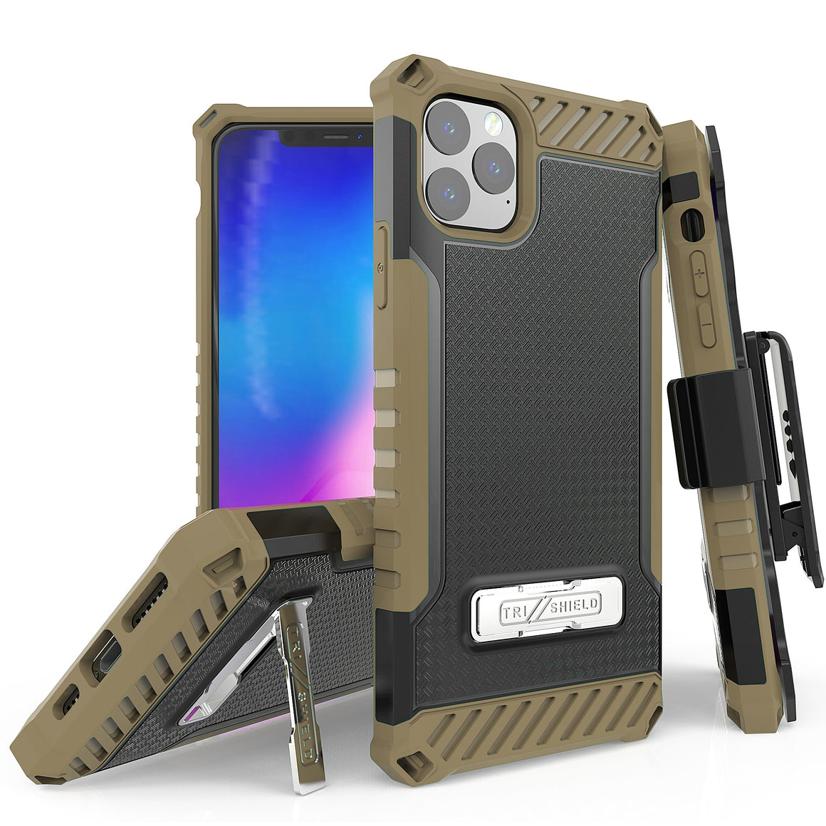 "Tri Shield For Apple iPhone 11 Pro Max (6.5"") Black/Tan, TPU Case,Kickstand, with Belt Clip Holster,"