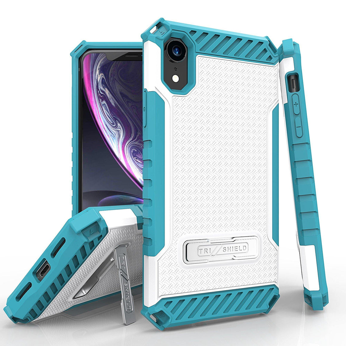 "Tri Shield For Apple iPhone XR (6.1"") White/Light Blue, TPU Case,Kickstand,"