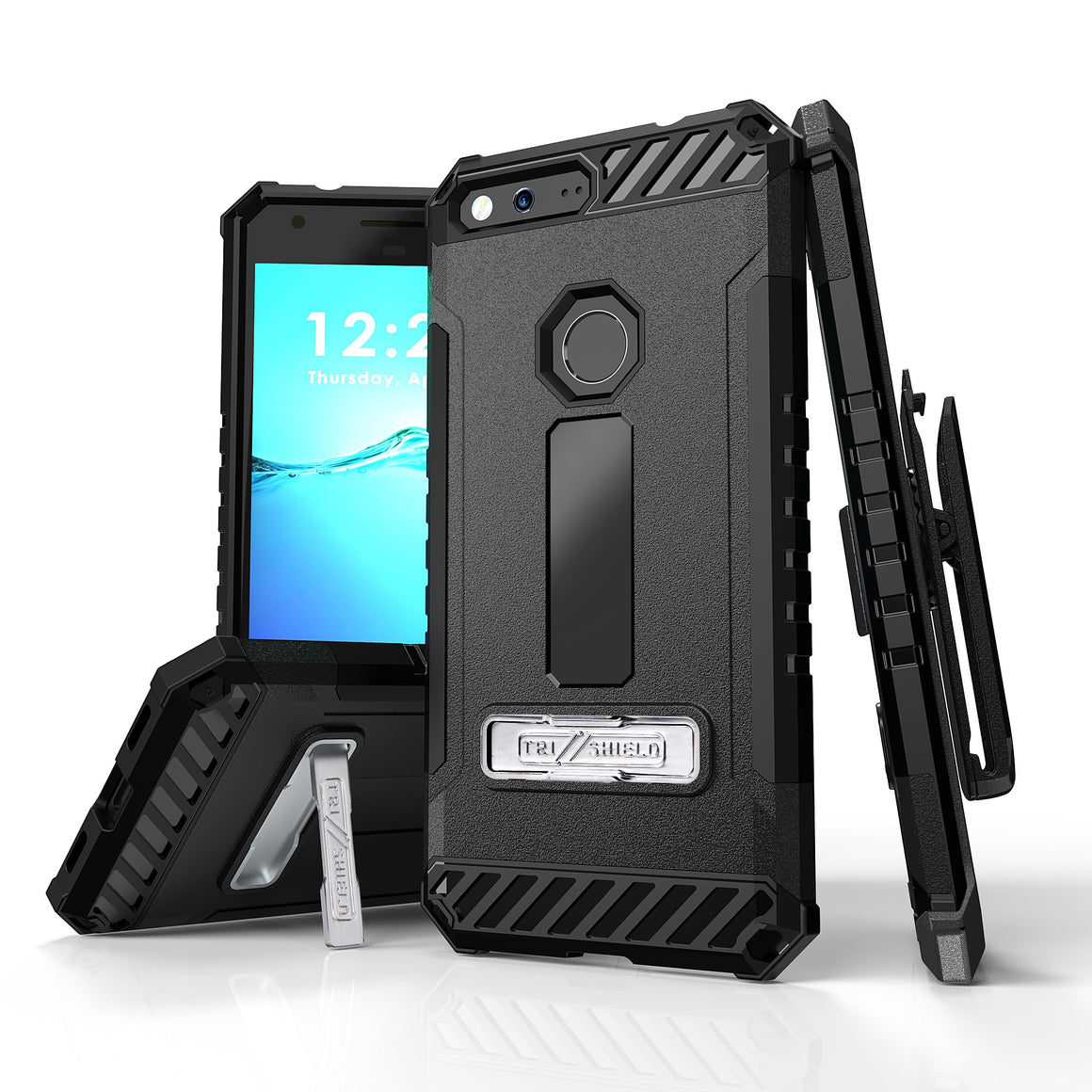 Tri Shield For Google Pixel XL 5.5 (Verizon) Black/Black, TPU Case,Kickstand, with Belt Clip Holster,