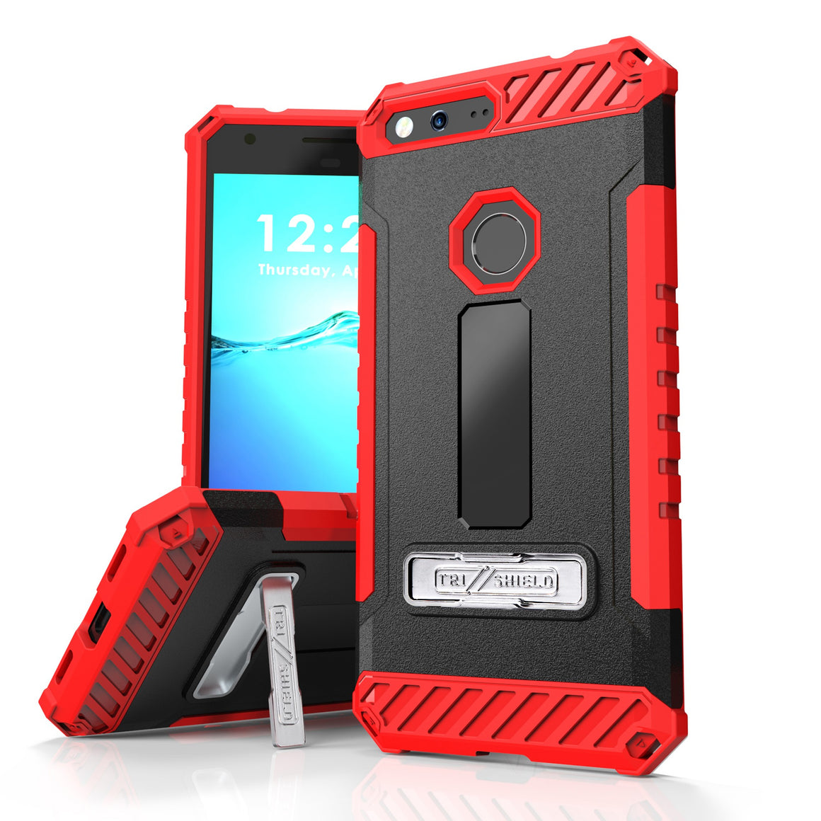 Tri Shield For Google Pixel XL 5.5 (Verizon) Black/Red, TPU Case,Kickstand,