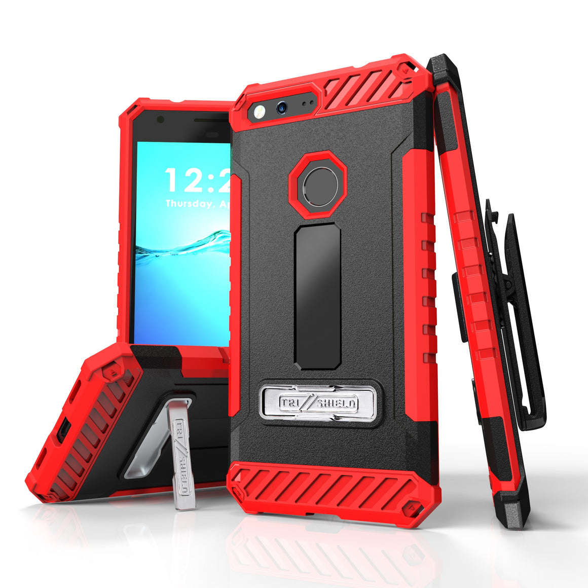 Tri Shield For Google Pixel XL 5.5 (Verizon) Black/Red, TPU Case,Kickstand, with Belt Clip Holster,