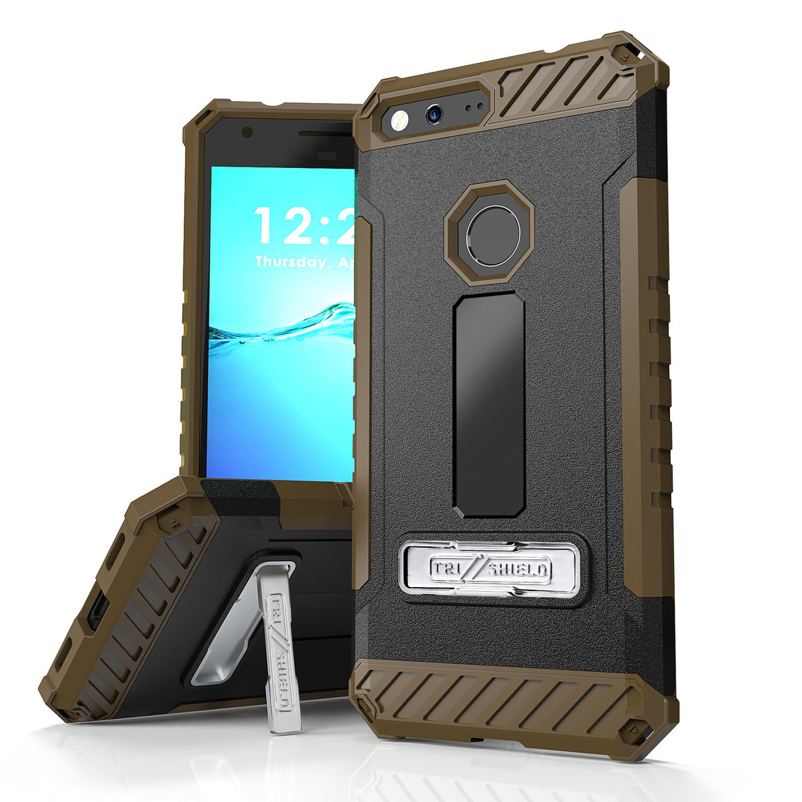 Tri Shield For Google Pixel XL 5.5 (Verizon) Black/Tan, TPU Case,Kickstand,