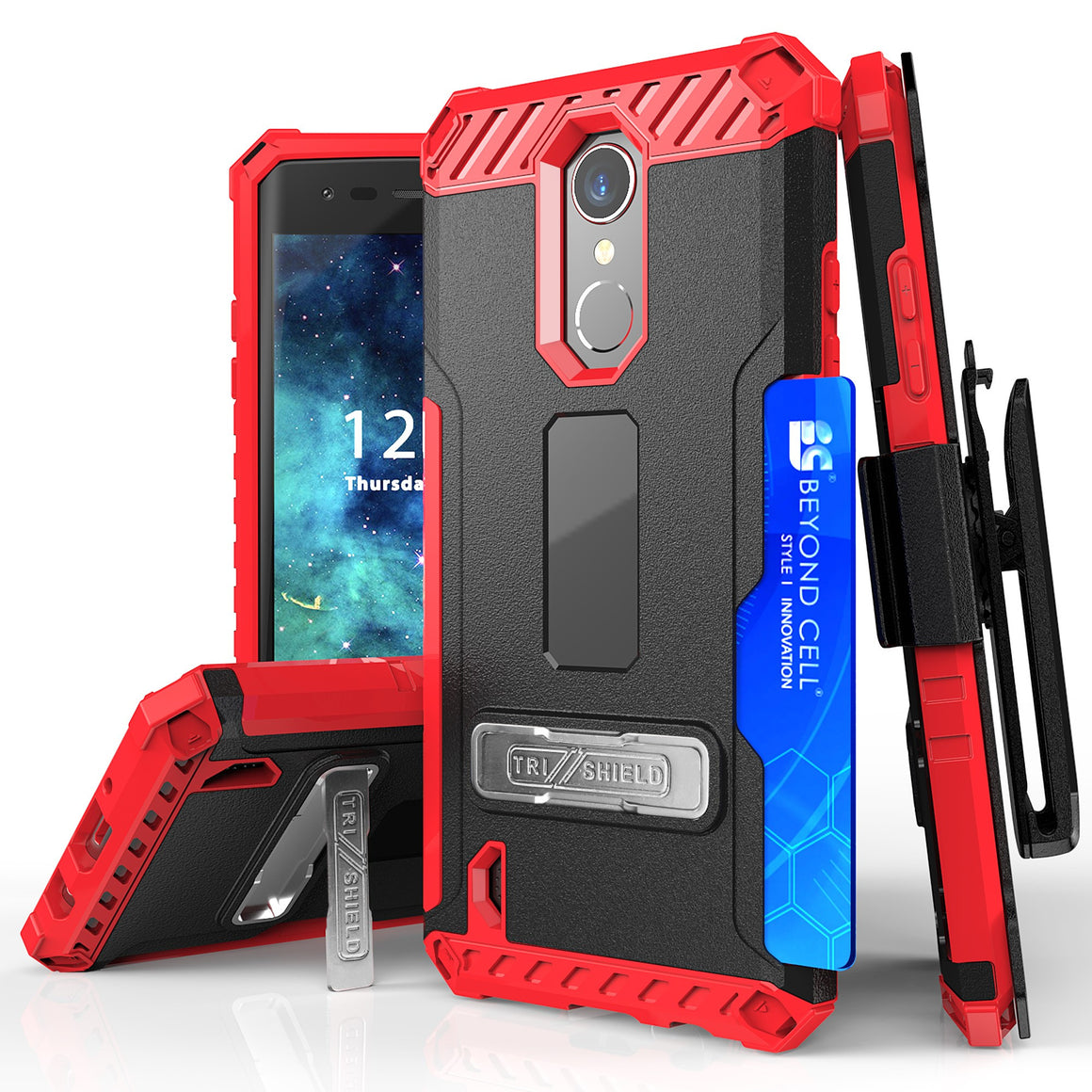 Tri Shield Combo For LG ARISTO/MS210/LV3/K8 (2017)/FORTUNE/RISIO 2 Black/Red TPU Case,Belt Clip Holster,Kickstand,Card Slot