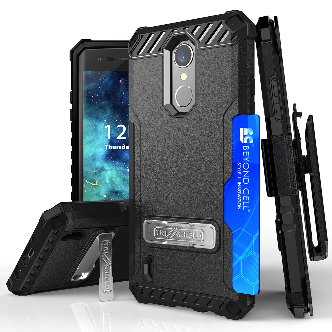 Tri Shield For LG Aristo 3 (X220)/Aristo 2+/Aristo2 /Fortune 2/Tribute Empire/Dynasty Black/Black, TPU Case,Kickstand, with Belt Clip Holster,