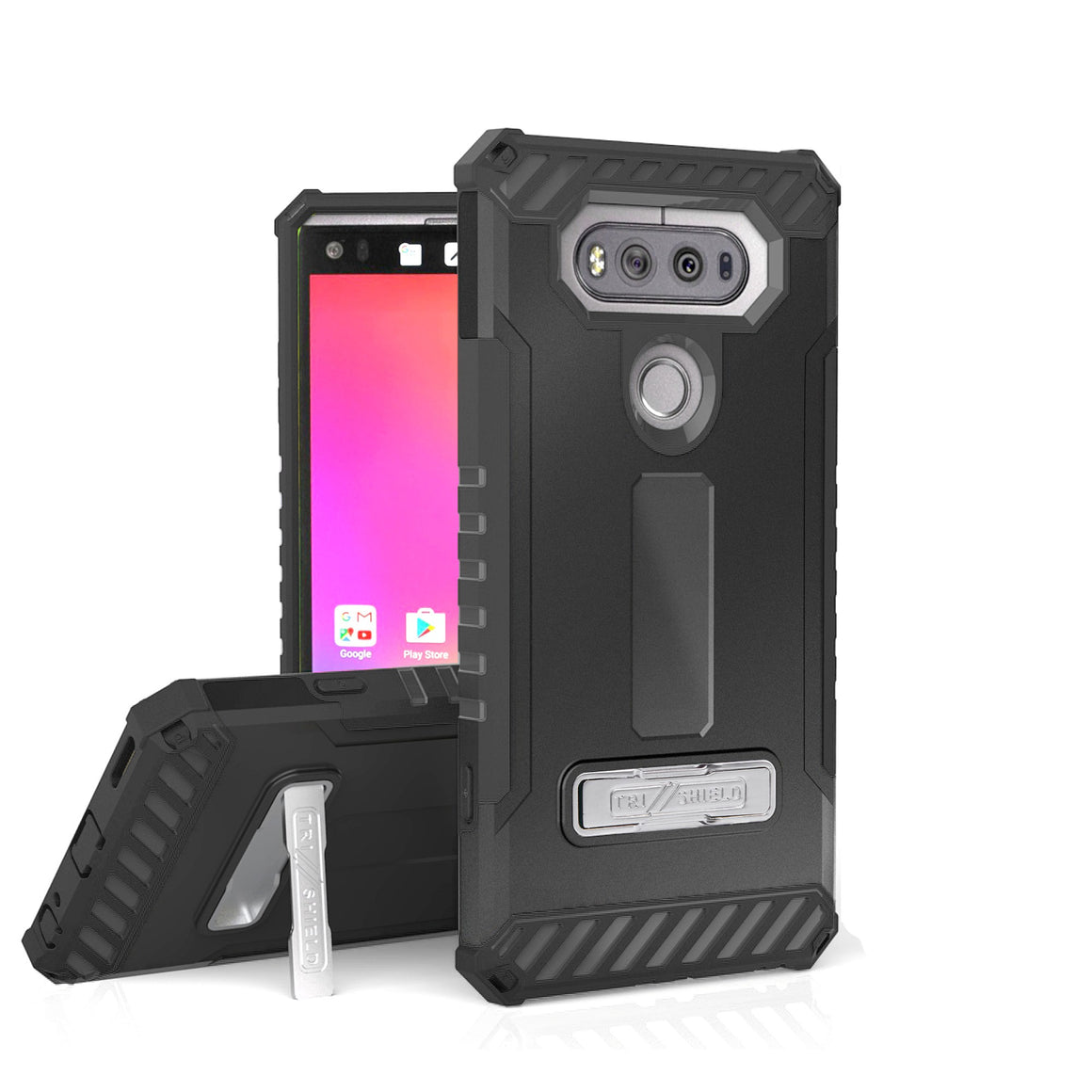 Tri Shield For LG V20 Black/Black, TPU Case,Kickstand,