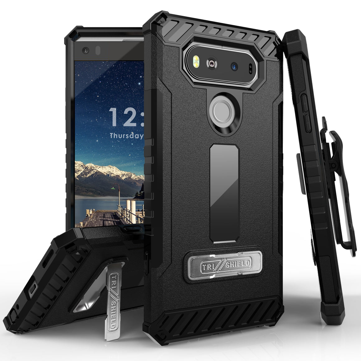 Tri Shield For LG V20 Black/Black, TPU Case,Kickstand, with Belt Clip Holster,