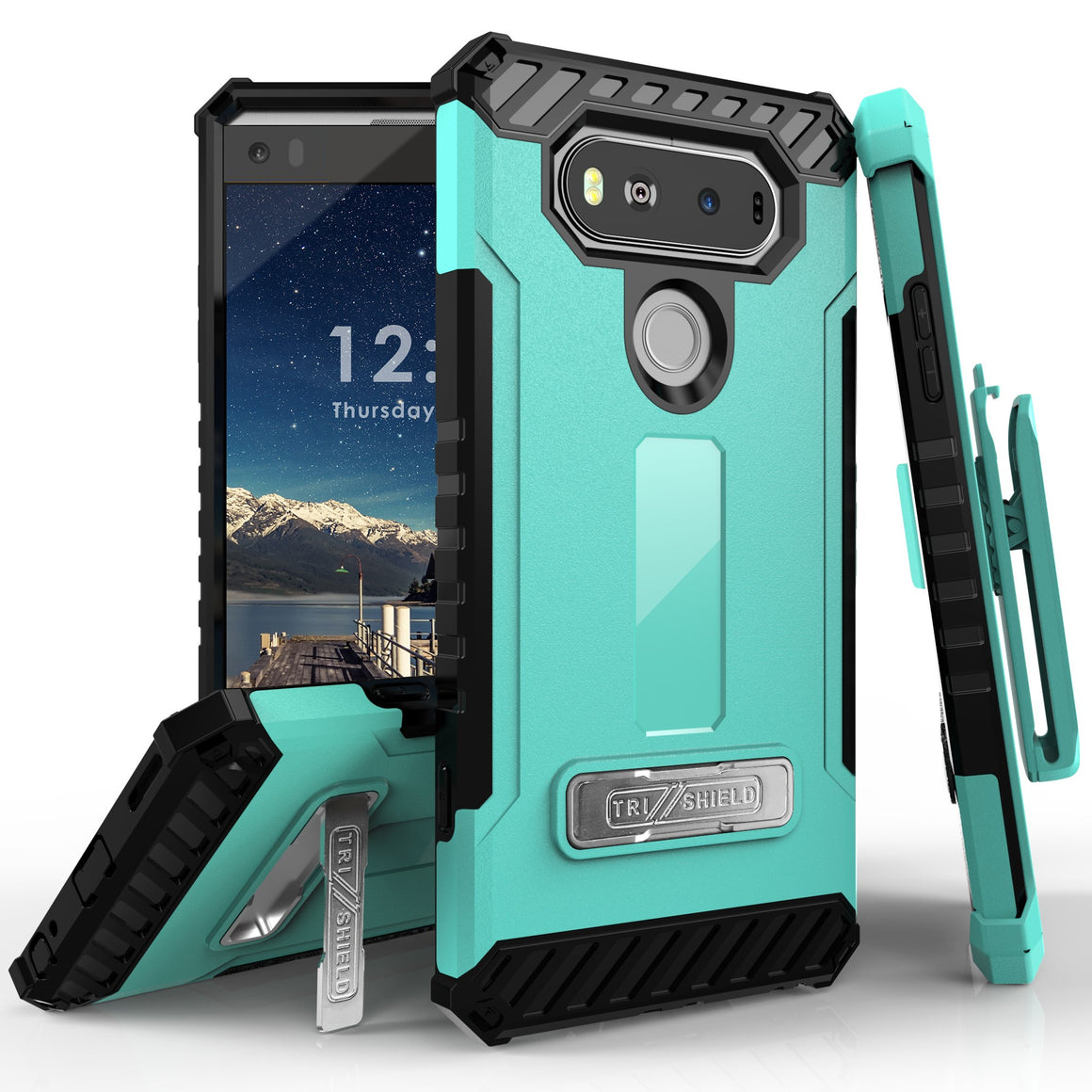Tri Shield Combo For LG V20 H910/ H918/ LS997/ VS995 White/Light Blue TPU Case,Belt Clip Holster,Kickstand,Card Slot
