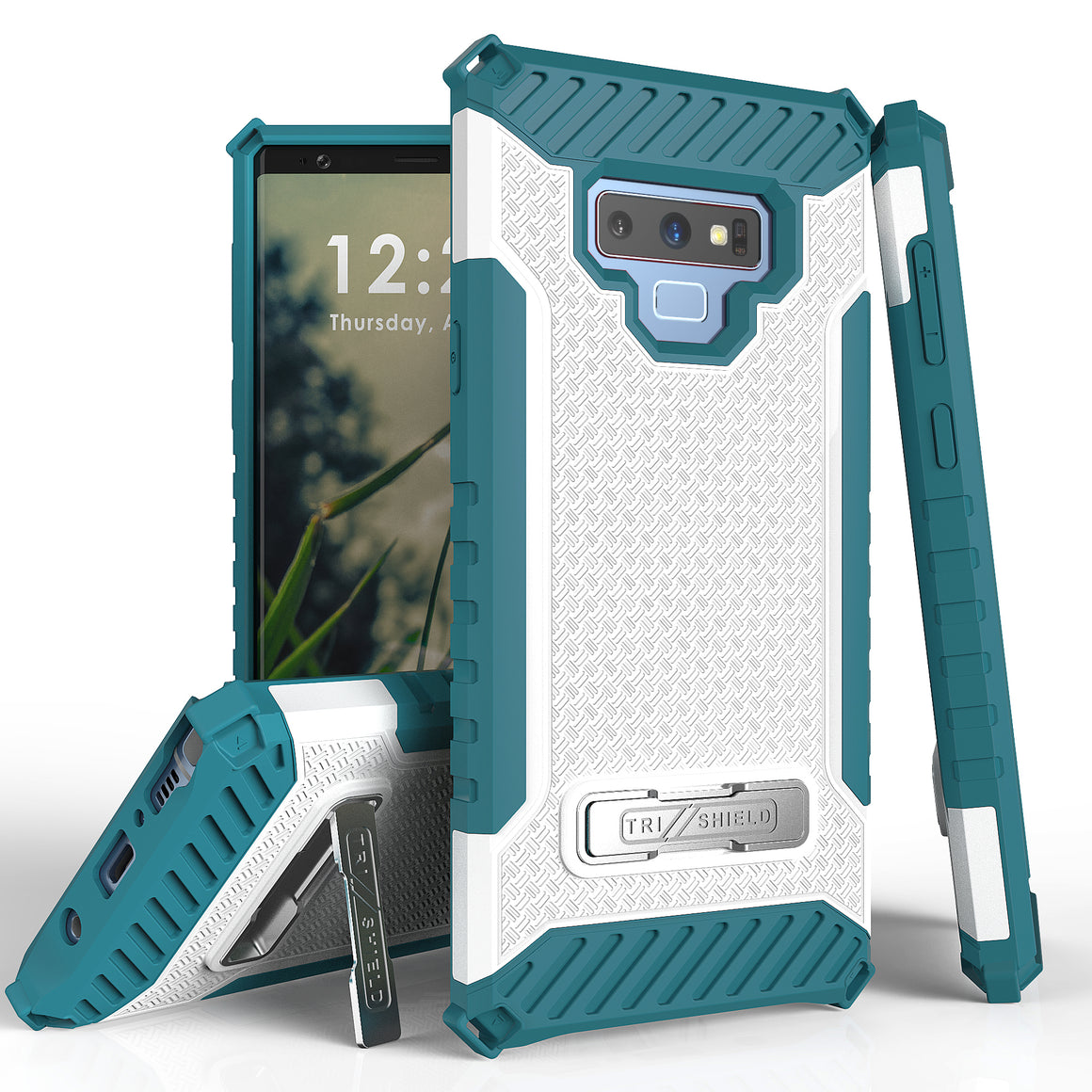 Tri Shield For Samsung Galaxy Note 9 White/Light Blue, TPU Case,Kickstand,